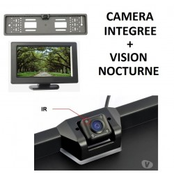 CAMERA DE RECUL + 4 LED IR VISION NOCTURNE SUR SUPPORT PLAQUE + ECRAN COULEUR 4.3 POUCES EN OPTION