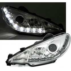 2 FEUX PHARE AVANT DEVIL EYES LED FOND NOIR PEUGEOT 206