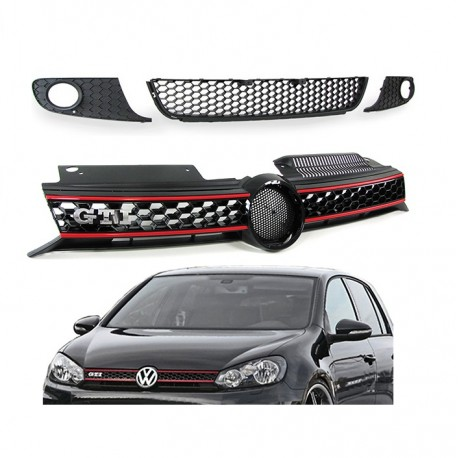 calandre 3 grilles nid d 39 abeille look gti pour vw golf 6 mtec. Black Bedroom Furniture Sets. Home Design Ideas