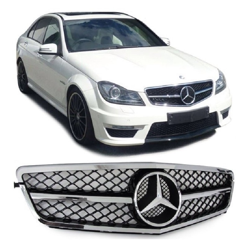 calandre mercedes classe c w204 noir brillant chrome look c63 amg sl design mtec. Black Bedroom Furniture Sets. Home Design Ideas