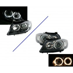 BMW SERIE 3 E90 E91 - 2 FEUX PHARE AVANT ANGEL EYES NOIR ANNEAUX LED BLANC BERLINE TOURING BREAK 2005-08