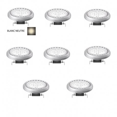 LOT 8 AMPOULE SPOT LED G53 / AR111 15W 12V 30° - BLANC NEUTRE 4200K