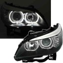 2 FEUX PHARE AVANT  BMW SERIE 5 E60 E61 ANGEL EYES LED BLANC 07/2003-2012 PHASE 1 & 2
